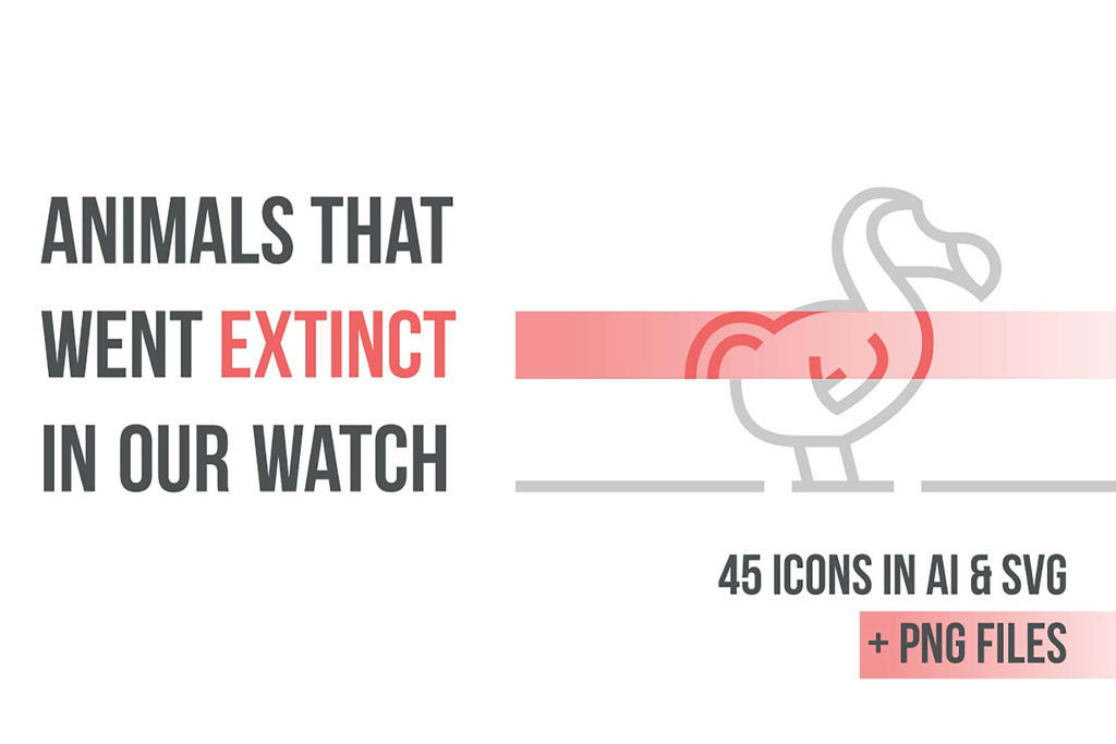 【無料&商用可】絶滅危惧種の動物をモチーフにしたアイコン15種×3パターン(計45個)【ai,png,svg,イラスト】