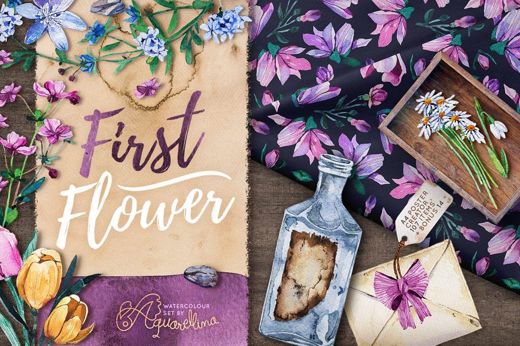 クオリティ高め使いやすい無料で使える水彩風の花イラスト素材セット