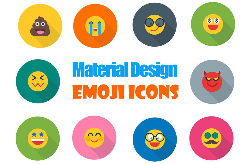 [免费] 可爱和易于使用!25种表情符号图标由材料设计!