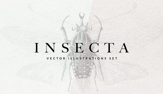 【無料&ロイヤリティフリー】リアルタッチな昆虫ビンテージイラスト素材20種【ベクター素材/ai/png】