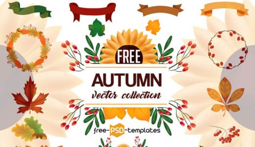 【Free vector material】Autumn material (pumpkin, acorn, autumn leaves, etc.) is filled with a lot of autumn color material template
