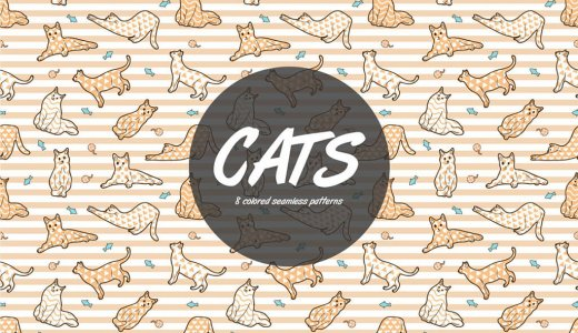 【無料&商用可】カワイイ!ネコのイラスト背景パターン素材【ai,eps,png】