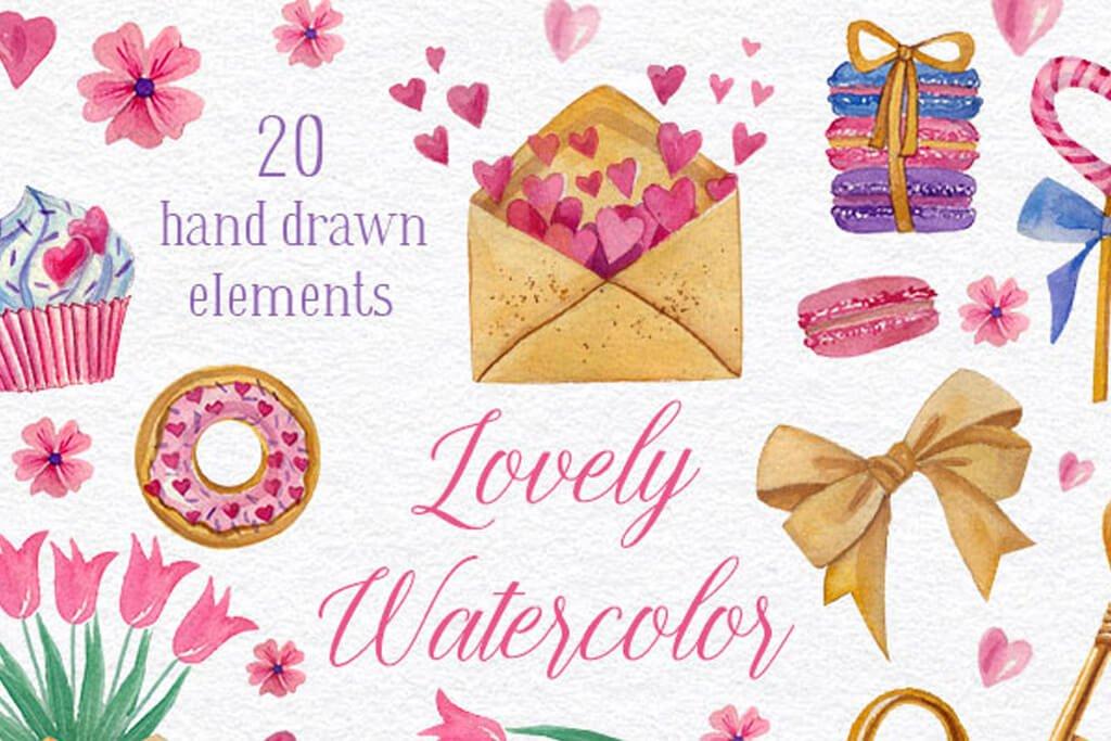 カワイイバレンタインなど特別な日に使える水彩風可愛いイラスト素材20