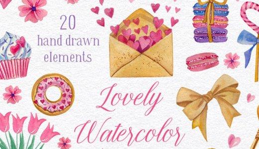 カワイイ!バレンタインなど特別な日に使える水彩風可愛いイラスト素材20種【ハート・花・リボンetc】