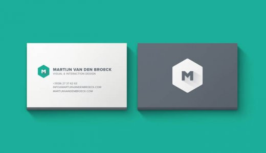 【Free】 Business Card Mock-up – Simple Stylish 2-Color Flat Design [psd Template Material]