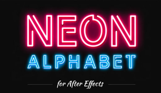 【Commercial available & free】 Neon-style alphabet character material easy to use with AfterEffects [flashing / aep file]