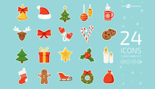 【無料&商用可】かわいい!クリスマスをモチーフにしたベクターアイコン素材24種【psd,ai,eps,jpg】