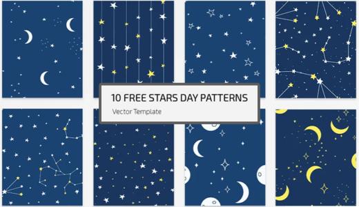 【無料】何にでも使える!便利な星柄パターン素材10種【psd+eps】