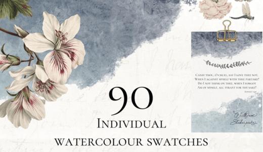 【無料&商用可】背景やワンポイントに使える水彩スウォッチ素材90種